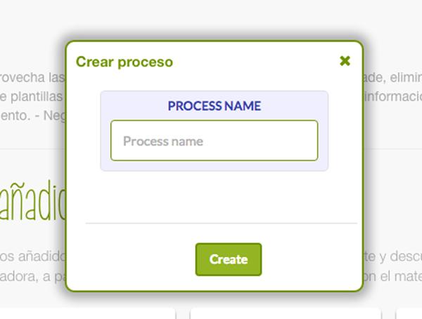 Botón de cómo Crear un proceso en el Dashboard