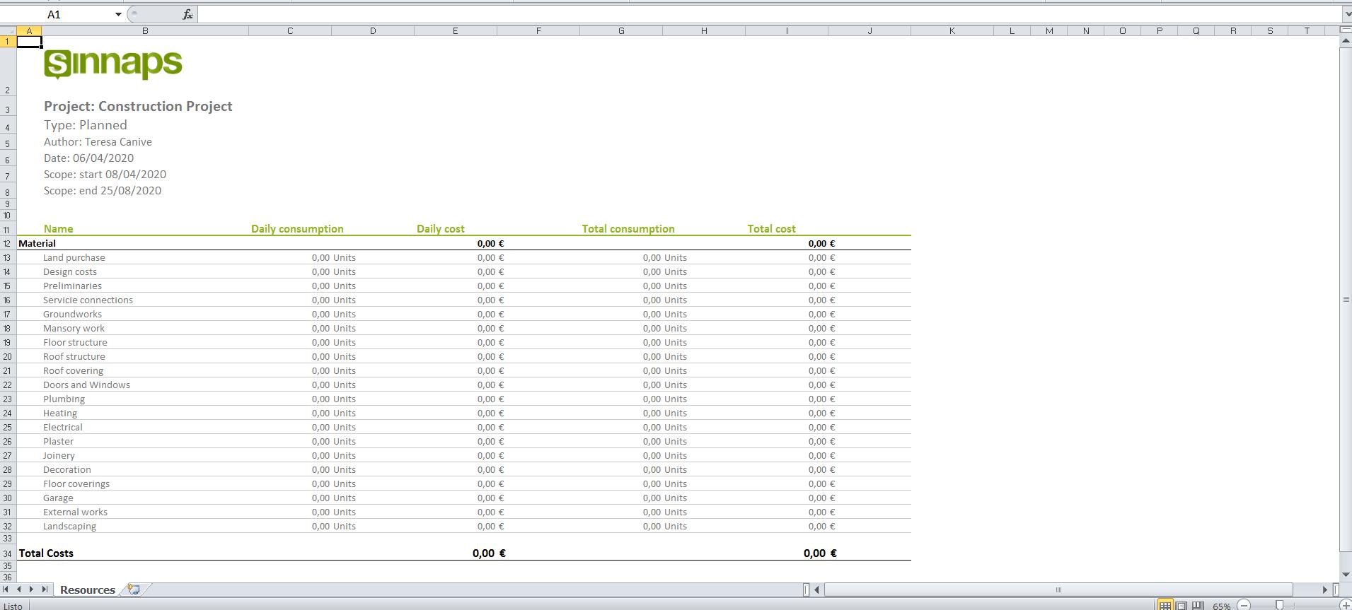Construction Cost Estimate Template Excel Sinnaps